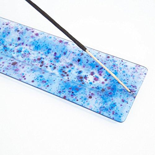 Incensario de vidrio - Quemador de varillas de incienso - Azul - Punto