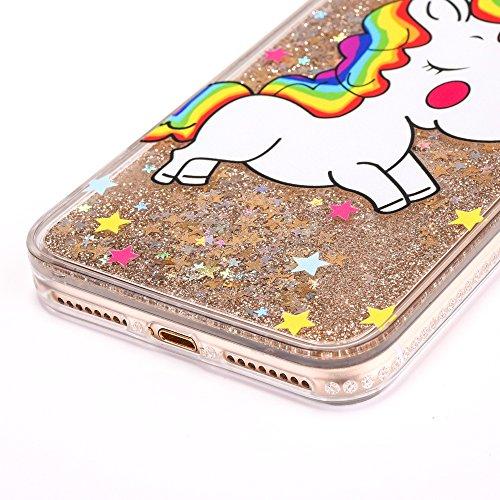 Coque iPhone 7 Plus 8 Plus Paillette, E-Unicorn Housse Étui Coque Apple iPhone 7 Plus 8 Plus Transparente avec Motif 3D Licorne Rose Strass Brillante Bling liquide Glitter Rigida Case Cover Bumper Inc Licorne Or