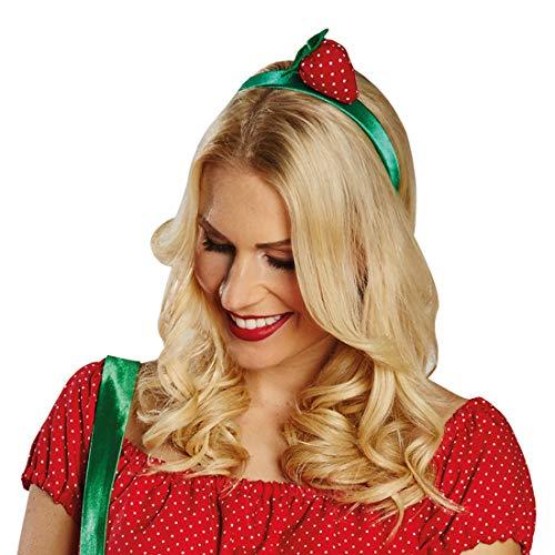 Kostüm Frauen Erdbeere - NET TOYS Erdbeer-Haarreifen für Frauen | Rot-Grün | Zauberhaftes Damen-Accessoire Kopfschmuck freches Früchtchen | Perfekt geeignet für Sommerfest & Hawaiiparty