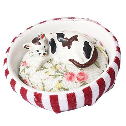 MagiDeal Miniatur Hund / Kätzchen Haustier mit Nest für 1/12 Puppenhaus Puppenstube Deko Zubehör - Katze -