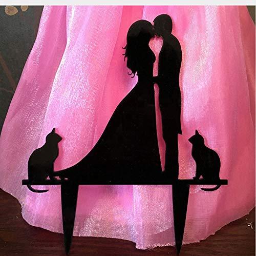 Kyzaa Hochzeitstorte Dekor - Süße Katze Dekor Hochzeitstorte Topper, Acryl Hochzeit Dekoration Kuchen Zubehör
