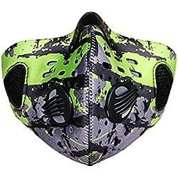 TININNA nueva moda de carbón activado anti niebla Haze máscara al aire libre anticontaminación máscara de carbono Cloth Filtro motocicleta ciclismo montar a caballo a prueba de viento media cara máscara