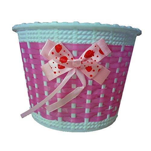 Qingsun Fahrrad Vorderkorb Kinderfahrrad Mädchen Handgewebte Körbe Handgefertigte Plastik Kunststoff (Rosa) (Mädchen Für Körbe)
