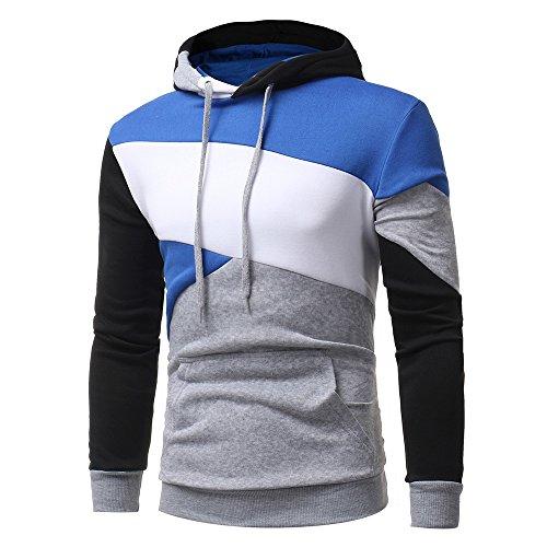 Honestyi Herren Kapuzenpullover, Herren Langarm Hoodies Sweatshirt Tops Jacke Mantel Abnutzung Kapuzenpullover(Grau,L)