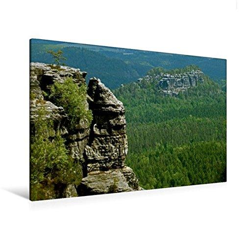Preisvergleich Produktbild Premium Textil-Leinwand 120 cm x 80 cm quer, Blick zum hinteren Raubschloss | Wandbild, Bild auf Keilrahmen, Fertigbild auf echter Leinwand, Leinwanddruck: Sächsische Schweiz (CALVENDO Natur)