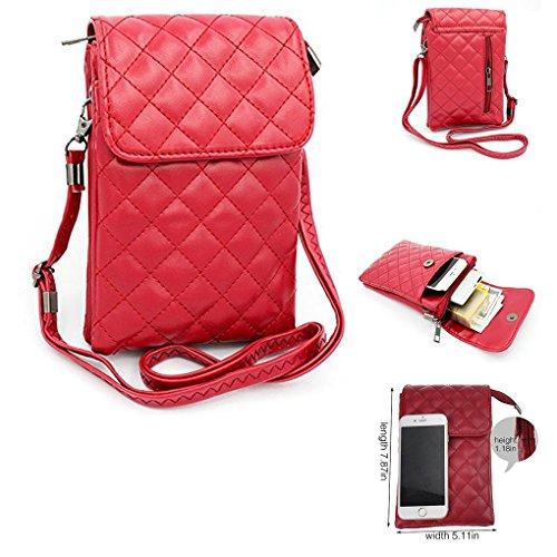 Mehrzweck Weichem PU-Leder Geldbörse Universal Crossbody Handy Mobiltelefonen, der Fällen Schultertasche Tasche für iPhone X/8/7/6Plus Samsung Series Phones Unter 16,5cm aus waitingu, b Red (Entsperrt Iphone 6 Plus)