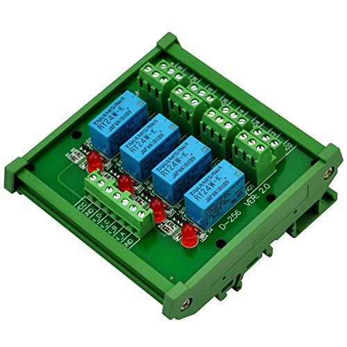 Electronics-Salon Montage sur rail DIN 4 Module d'interface de relais de signaux DPDT, DC24V Version.