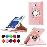 Custodia Samsung Galaxy Tab 3 Lite 7.0,PU Pelle Girevole 360°Rotante Smart Cover per Samsung Galaxy Tab 3 Lite 7.0 Pollici Tablet SM-T110 SM-T111 SM-T113 SM-T116 Custodia in Pelle con Supporo(Rosa)