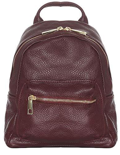 malito Damen Rucksack   Handtasche in trendigen Farben   Echtleder Rucksack   Schultertasche - Umhängetasche R500 (bordeaux)