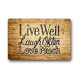 Custom Welcome Vintage Wood Pattern With Live Laugh Love Rectangle Entryways Decorative Doormat Indoor/Outdoor Doormat 23.6' x 15.7' Non-woven Fabric Non Slip Bathroom Doormat Carpet Mats