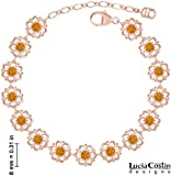 Divine Bracelet by Lucia Costin with Flower Ornaments, Crafted with Yellow Swarovski Crystals and Dots; 24K Pink Gold over .925 Sterling Silver; Handmade in USA