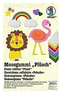 Ursus 8480099 - Peluche de Hoja de gomaespuma Suave surtida en 10 Colores Diferentes, Aprox. 20 x 30 cm, 2 mm de Grosor