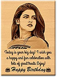 GFTBX 'Happy Birthday' Personalized Engraved Rectangular Wooden Photo Plaque Gift for Girlfriend (5 x