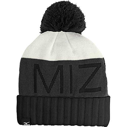 2015 Mizuno Big Logo Wordmark Beanie Mens Golf Bobble Hat Charcoal/Black/White