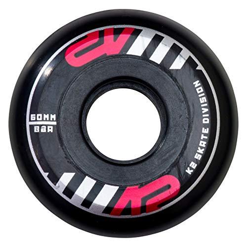 K2 Inline Skates Rollenset 60 mm Street Wheel Ersatzrollen - Schwarz - 4 Rollen - 30B3016.1.1.1SIZ