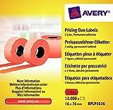 AVERY Zweckform RPLP1626 Preisauszeichner-Etiketten (12.000 Stück, 2-zeilig, 16 x 26 mm) 10 Rollen rot