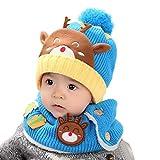 Schal Caps Kinder, Dragon868 Baby Kleinkind Kinder Junge Mädchen Gestrickte Kinder SchöNe Weiche Hut Mit Schal (Hellblau)