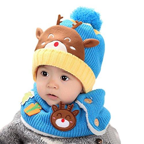 Dragon868 Schal Caps Kinder, Baby Kleinkind Kinder Junge Mädchen Gestrickte Kinder SchöNe Weiche Hut Mit Schal (Hellblau)