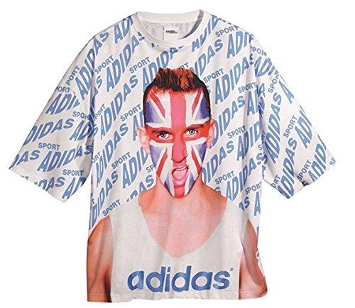 ADIDAS ORIGINALS by JEREMY SCOTT UK TEE OVERSIZE UNION JACK T-SHIRT F50874, Größe:One Size;Farbe:Weiß (Adidas Jack)
