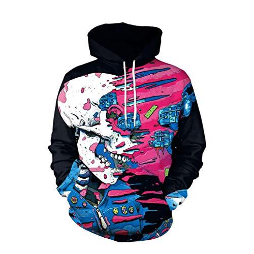 IMJONO Herren Frauen Paar Wear, Liebhaber Punk 3D Print Party Langarm Pullover Bluse Hoodie Sweatshirt(EU-38/CN-M,Schwarz)