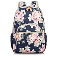Leaper Cute Floral School Backpack Canvas Travel Bag Bookbags Satchel Daypack