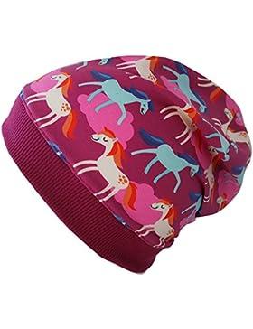 WOLLHUHN ÖKO Leichte Beanie-Mütze pink / beere mit Pony-Motiv / Pferden (aus Öko-Stoffen, bio) für Mädchen, 20151218