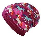 Wollhuhn ÖKO Beanie-Mütze pink/Beere mit Pony-Motiv/Pferden (aus Öko-Stoffen, Bio) für Mädchen, 20151218, Größe XXS: KU 36/40 (bis ca 6 Mon.)