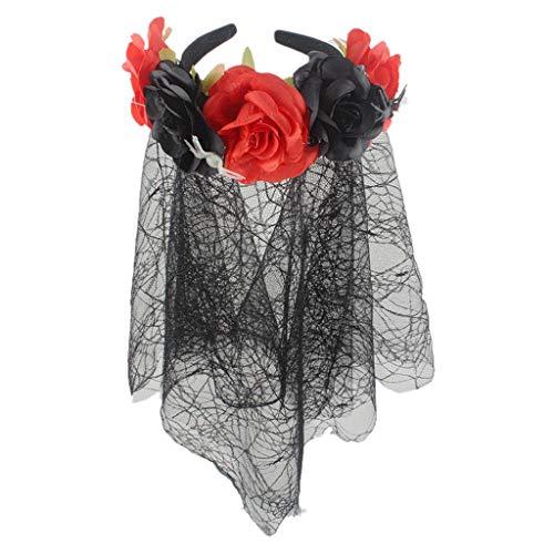Frauen Blume Stirnband Kranz Einstellbare Gummiband mit Spitze Spinnennetz Schleier Halloween Floral Garland Crown Hochzeit Kopfschmuck Festivals Foto Requisiten für Mädchen Damen