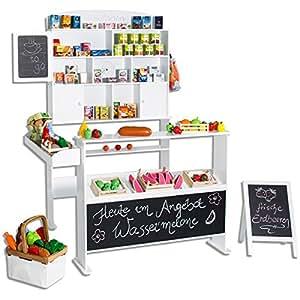 Kaufmannsladen mit Tafel und Kundenstopper aus Holz Weiß (Version 2)