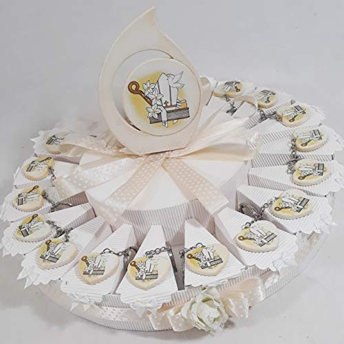Torta bomboniere icone sacre santa cresima e sacra famiglia per ragazzo e ragazza (torta da 19 fette con portachiavi cuore cresima)