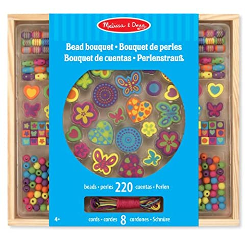 Melissa & Doug Bead Bouquet Deluxe Wooden Bead Set With 220+ Beads for Jewellery-Making
