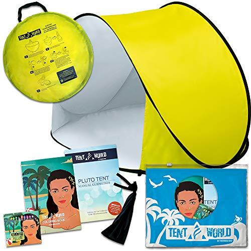 Tente de plage Pluto jaune: Un accessoire extraordinaire pour le confort de vos enfants! Une tente de luxe et légère. Un abri de la chaleur du soleil, du vent et de la pluie. Sac de transport inclus