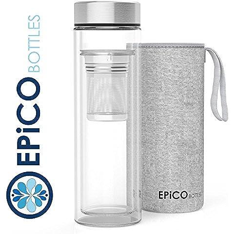 EPiCO BOTTLES Termo de cristal vidrio de borosilicato 400ml | Doble pared de vidrio | Con filtro colador para té o fruta | Botella de agua de cristal para té caliente o frío | Tetera