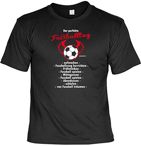 cooles witziges Damen Herren T-Shirt schwarz Motiv Fussball ideales Geschenk Geburtstag Vatertag Muttertag Mitbringsel Schwarz