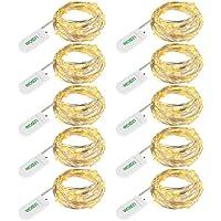 LEDGLE 10er Stück LED Lichterkette Batterie Kupfer Drahtlichterkette Warmweiß 1.2M&24LEDs Lichterketten Weihnachten Batteriebetrieben Wasserdichte Lichter Flasche Dekoration