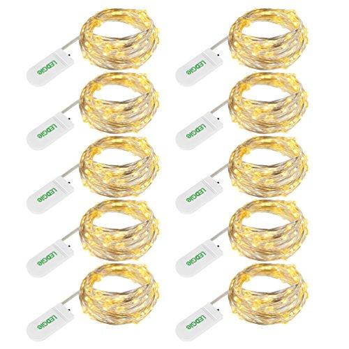 LEDGLE 10er Stück LED Lichterkette Batterie Kupfer Drahtlichterkette Warmweiß 1.2M&24LEDs Lichterketten Weihnachten Batteriebetrieben wasserdichte Lichter Flasche Dekoration -