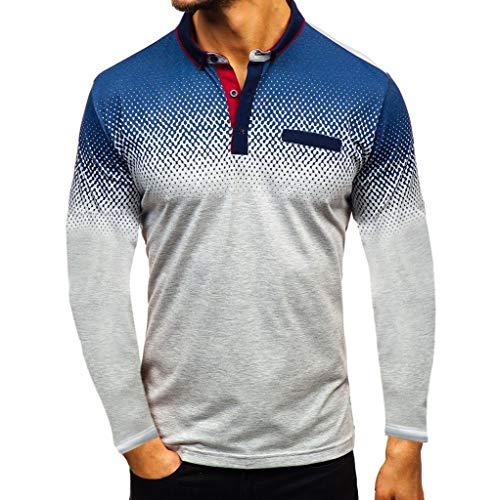 ZHANSANFM Poloshirt Herren Revers T-Shirt Aufdruck Polohemd Shirt Mit Polokragen Kurzarm Top Freizeit Fitness Sweatshirt Tops(L, Grau1) -