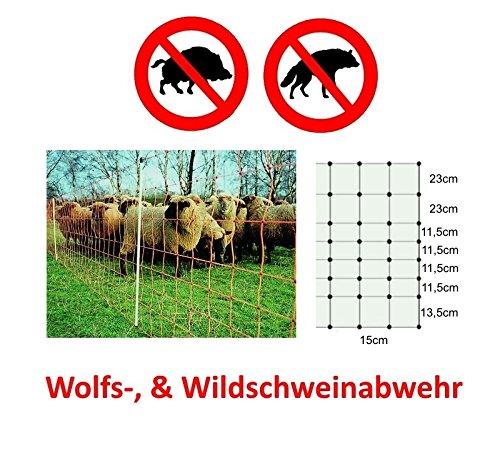 Weidezaun Euro Netz Wildschweinabwehr Jumbo 25m lang 106cm hoch zwei Bodenpitzen