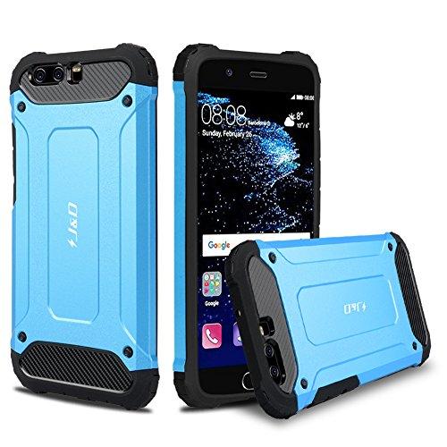 J&D Kompatibel für Huawei P10 Hülle, [ArmorBox] [Doppelschicht] [Heavy-Duty-Schutz] Hybrid Stoßfest Schutzhülle für Huawei P10 - [Nicht kompatibel mit Huawei P10 Plus] - Blau -