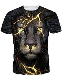 40ba3726 HLHN Unisex T-Shirt,3D Animal Cat/Wolf/Lion Print Short Sleeve O Neck Tops  Casual Pullover Blouse Men Women…