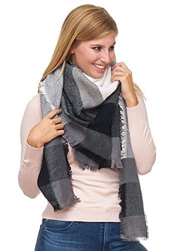 JillyMode XXL Damen Schal Winter Dick Warm und weich viele schöne Mustern (8001-5-weiss-grau)