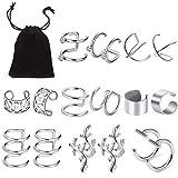 8 Paires Clips d'oreille en Acier Inoxydable, Vibury non Piercing Clip sur les Boucles d'Oreilles Cartilage Fausse Oreille Manchette pour Hommes Femmes (Acier)