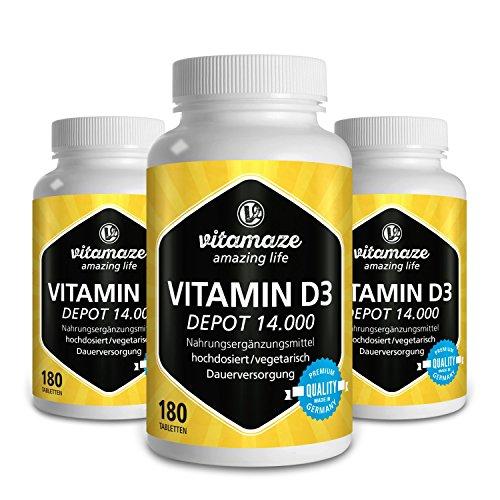 3 Dosen Vitamin D3 Depot 14.000 IE pro Tablette hochdosiert (14-Tage-Dosis), 180 vegetarische Tabletten (teilbar), Made-in-Germany ohne Magnesiumstearat, 30 Tage kostenlose Rücknahme!