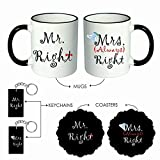 Giftsmate Mr. Right Mrs. Always Right Couple Mugs Coasters, Keychains Gift Hamper for Husband Wife