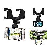 #8: Ascension ® Universal 360 degree Mobile Phone Holder Car Mount Rearview Mirror Navigation GPS Holder Phone Holder Stand - Black Color