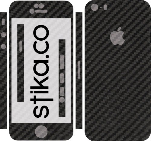 Adesivo in vinile 3D per Apple iPhone 5, 5S Black Carbon Fiber Black Carbon Fiber