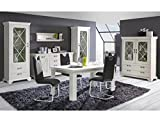 expendio Esszimmer Kasimir 42 Pinie weiß 6-teilig LED-Beleuchtung Esstisch 3X Vitrine Sideboard Wandboard Landhausmöbel Landhausstil
