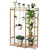 Edge to Blumenregale Bambus Blumenregal Multifunktions Blumentopf Display Rack Blumen Regal, H * W * D: 147 * 90 * 30 cm, Hellbraun