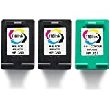 ***Buy 2 Sets Get 2 Extra Blacks Free*** Refilled 2X 350 Black & 1X 351 Colour Ink Cartridge For HP Photosmart C5275 C5280 Printer