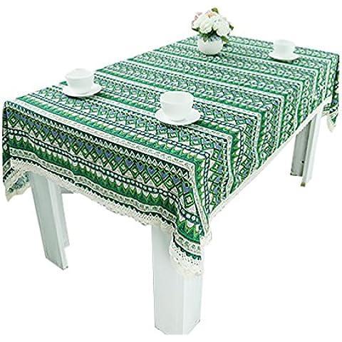 NiSeng Tovaglie per ristorazione Tovaglia Antimacchia Rettangolare Vintage Stampato Tovaglia da tavola in cotone lino Verde 140x220 cm